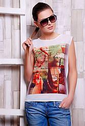 """Стильная белая женская футболка без рукавов с принтом и надписями Четыре картинки """"Classic"""""""