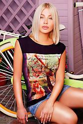 """Стильная черная женская футболка без рукавов с принтом и надписями Четыре картинки """"Classic"""""""