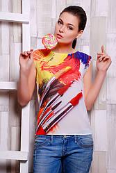 """Стильная белая женская футболка без рукавов с красочным принтом Акварель """"Classic"""""""