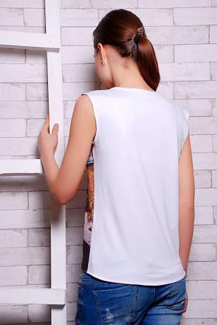 """Стильна біла жіноча футболка без рукавів з яскравим принтом Акварель """"Classic"""", фото 2"""