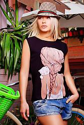 """Стильная черная женская футболка без рукавов с принтом Девочка с котиком  """"Classic"""""""