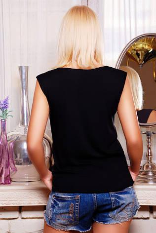 """Стильна чорна жіноча футболка без рукавів з принтом Дівчинка з котиком """"Classic"""", фото 2"""