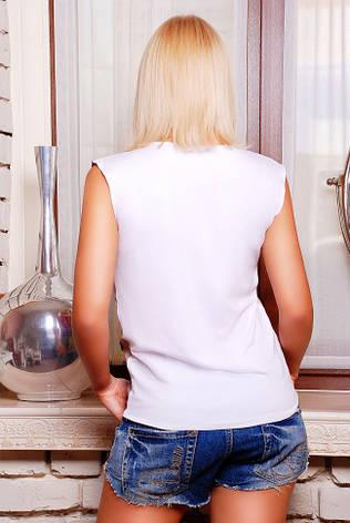 """Повсякденна літня біла жіноча футболка без рукавів з принтом Монро """"Classic"""", фото 2"""