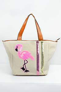 Вместительная сумка Фламинго молочная