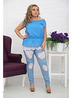 Женские брюки Джинс-Кружево белое / размер 48-72