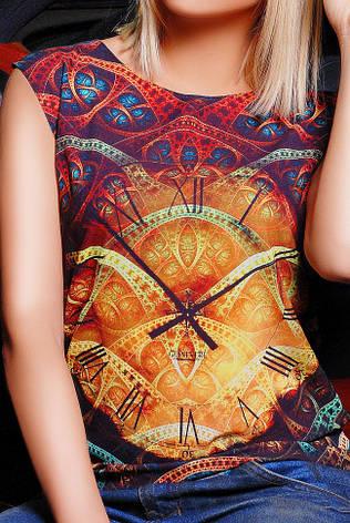 """Повседневная летняя сине-черная футболка без рукавов с абстрактным принтом Часы """"Classic"""", фото 2"""