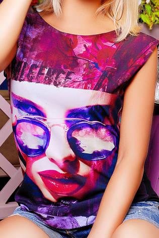 """Повседневная летняя сиренево-черная женская футболка без рукавов с надписью и принтом """"Classic"""", фото 2"""