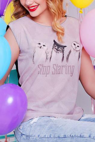 """Прямая женская серо-черная футболка с надписью и принтом Совы """"Classic"""" FB-1308M-V, фото 2"""