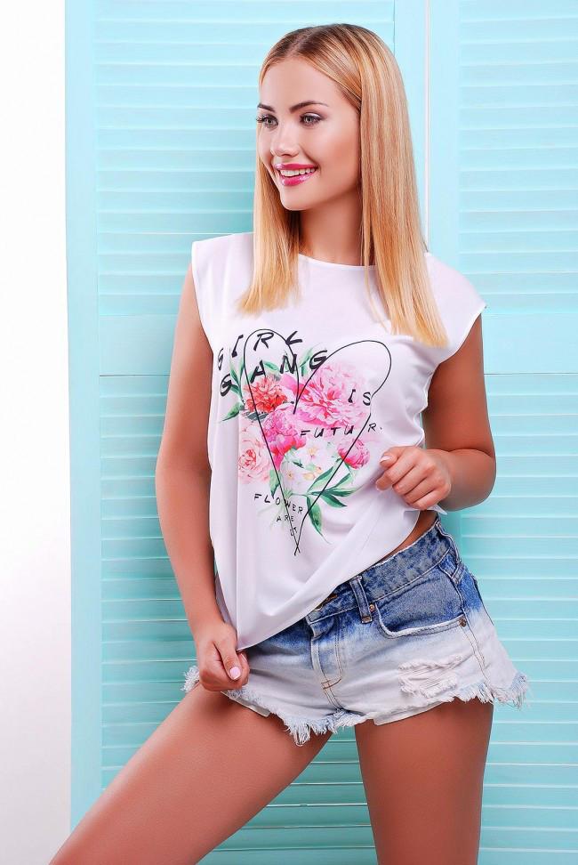 """Стильная женская белая футболка без рукавов с цветочным принтом Girl gang """"Classic"""""""