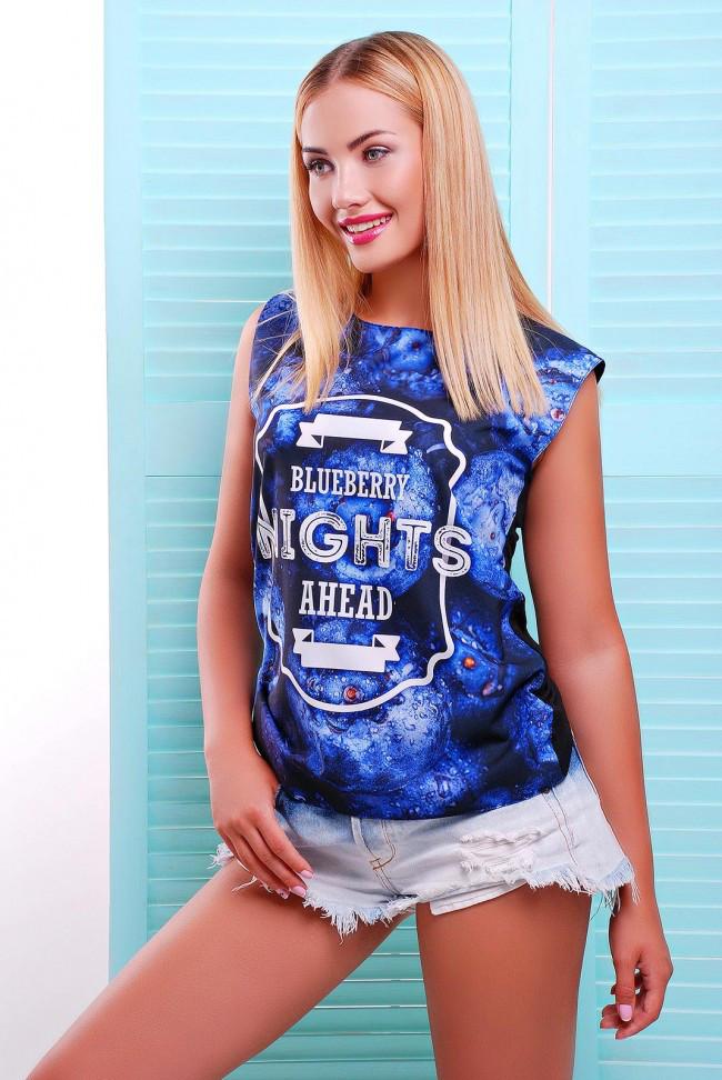 """Стильная женская сине-черная футболка без рукавов с ягодным принтом Blueberry """"Classic"""""""