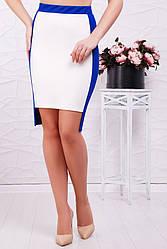 Стильная офисная длинная юбка по фигуре белая с синим