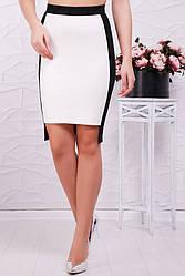 Стильная деловая юбка карандаш белая с черным