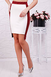 Стильная офисная облегающая юбка белая с бордовым
