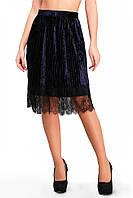 Велюровая прямая юбка до колен с кружевом темно-синяя