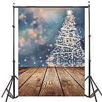5x7FT Виниловая фотография фона Веселая рождественская елка Тема Деревянный пол фоном для фотостудии