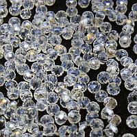 Бусины хрустальные (Рондель)  4х3мм пачка - 135-145 шт, цвет - прозрачный с АБ напылением