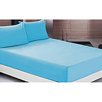 Комплект: Голубая махровая простыня на резинке и наволочки 50х70 Турция Sefa