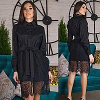 Короткое платье-рубашка со съемной кружевной юбкой