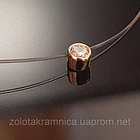 Колье  подвес на тонкой прозрачной леске в золоте 585 пробы средний вес 0.79-090 грамм