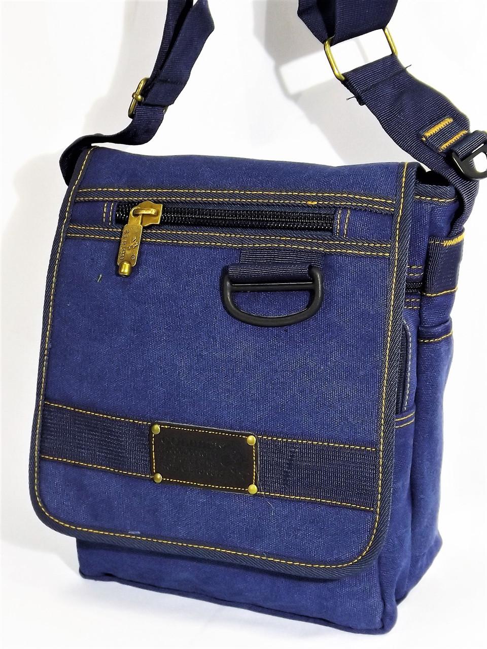 c98bde97e0df Молодежная брезентовая сумка на плечо Gold be! 103 синяя - интернет-магазин