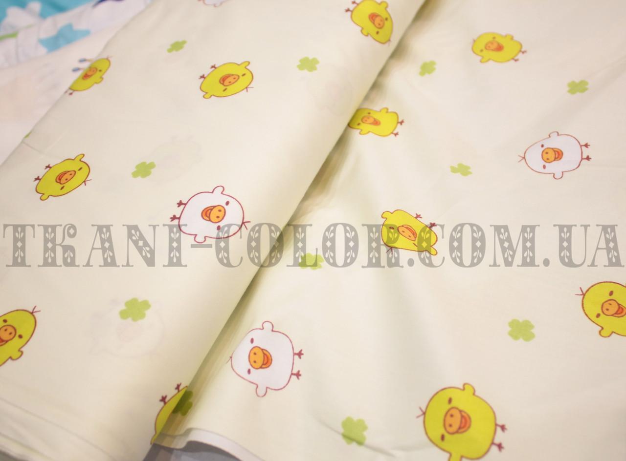 Ткань сатин для постельного и одежды принт птички