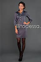 Платье с воротником-рубашка серый, фото 1