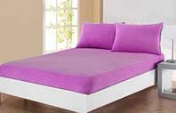 Комплект: Фиолетовая махровая простыня на резинке и наволочки 50х70 Турция Sefa