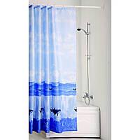 """Шторка для ванной текстиль с кольцами точный размер 180x200 см """"Море"""""""