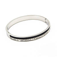 Браслет-кольцо Steel 0386 из ювелирной стали в стразах серебристый