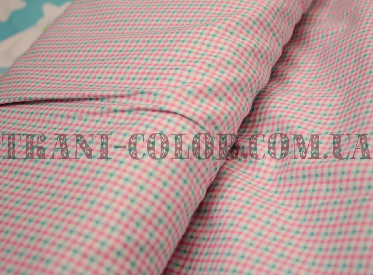 Ткань сатин для постельного и одежды принт клеточка