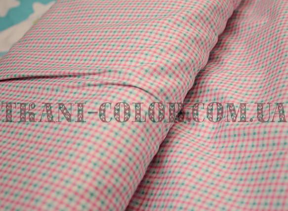 Ткань сатин для постельного и одежды принт клеточка, фото 2