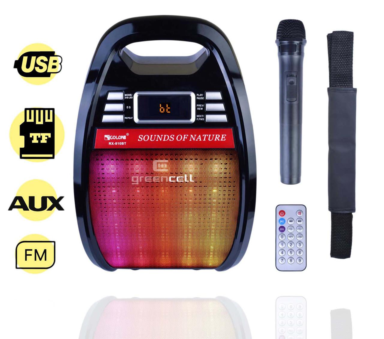 Портативная Колонка Комбик Golon RX 810BT Радиомикрофон Пульт Цветомузыка