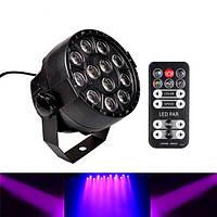 12W 12 штук LED УФ-черный свет DMX512 Звук и ИК-пульт дистанционного управления Сценический свет для Свадебное Party Christmas