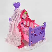 Кроватка качалка для кукол с балдахином, БЕЗ ПУПСА, постельное белье. Кукольная игрушечная кровать