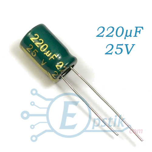 Конденсатор 220uF 25V, (8*12) 105°C, Low ESR