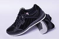 Кроссовки подростковые из натуральной кожи черного цвета от производителя модель ДТ - 06