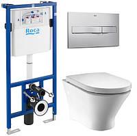 Комплект ROCA :PRO инсталяция для унитаза,  PRO кнопка,NEXO подвесной Clean Rim, сиденье твердое  slow-closing