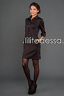 Платье с воротником-рубашка коричневый, фото 1