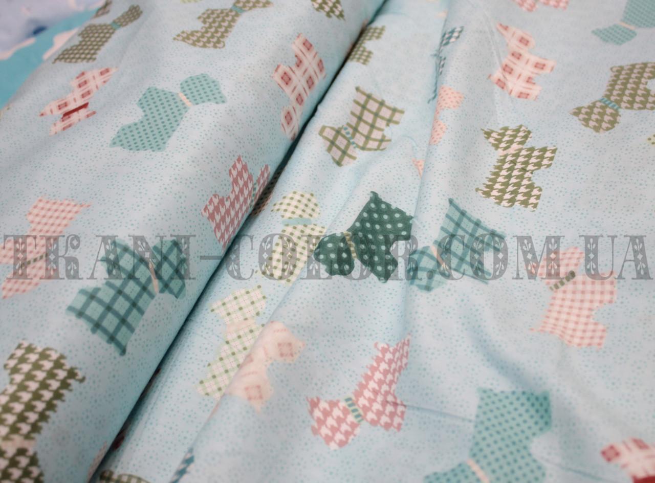 Ткань сатин для постельного и одежды принт собачки