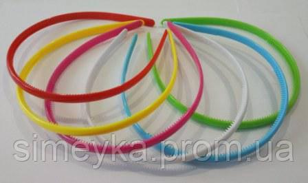 Обруч для волос пластиковый глянцевый 8 мм, 6 цветов, упаковка 12 шт.