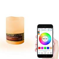 Mini Smart Wireless Bluetooth Изменение цвета RGBW LED Беспламенная свеча Лампа Свет Свадебное Украшение