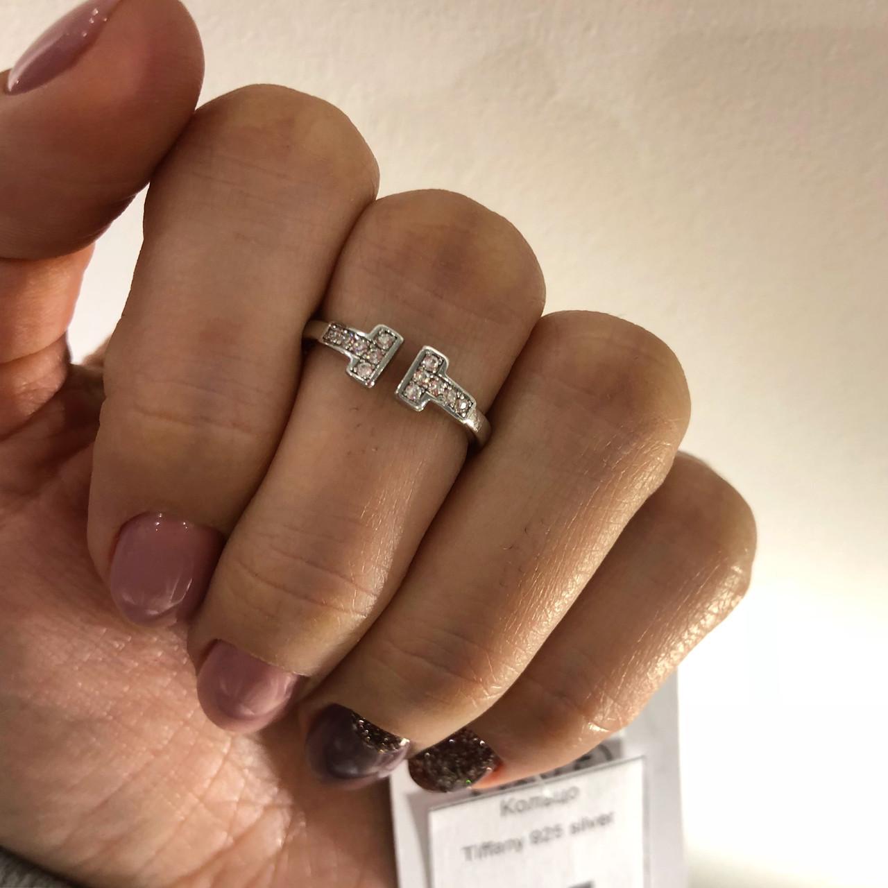 Кольцо из серебра с куб. цирконами в стиле Tiffany (размер 16,5)