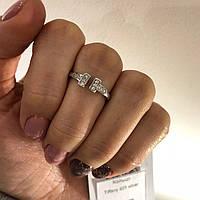 Кольцо из серебра с куб. цирконами в стиле Tiffany (размер 16,5), фото 1
