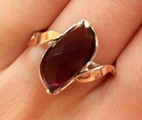 Кольцо серебряное с золотыми накладками Клаудия с турмалином
