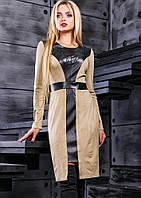 Бежевое замшевое платье с вышивкой Д-591