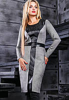 Серое замшевое платье с вышивкой Д-587, фото 1