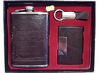 NF6220 Подарочный набор мужчине, Набор: фляга + брелок + визитница, Фляга 270 мл из нержавейки, Фляжка