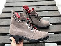 Ботинки №466-6 визон замша (брук кожа)