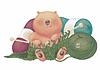 """Открытка """"Медведь и вязание"""""""