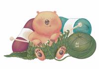 "Открытка ""Медведь и вязание"", фото 1"